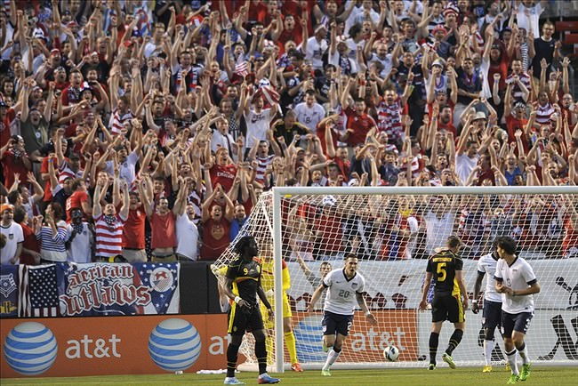 Clevelanders rejoice following a USMNT goal against Belgium on May 29, 2013.  Photo: David Richard-USA TODAY Sports